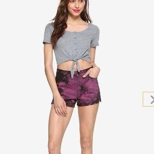 Hot Topic Blackheart Tie- Dye Hi -Rise Shorts